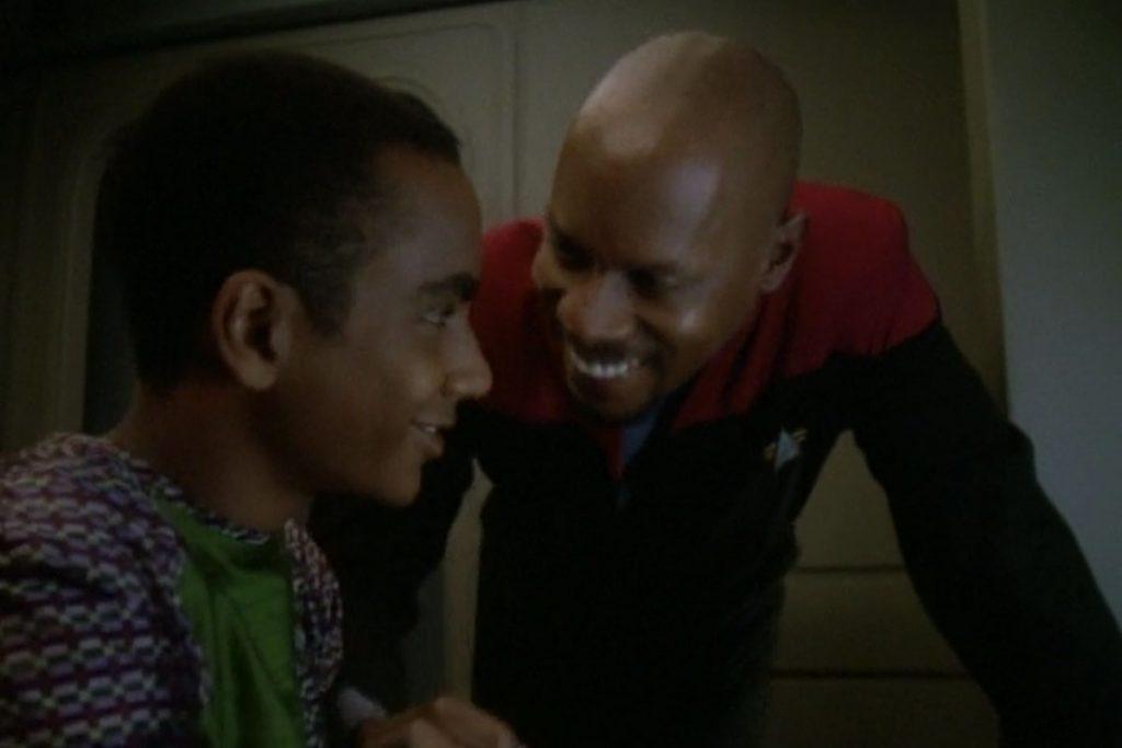 Cirroc Lofton as Jake Sisko and Avery Brooks as Benjamin Sisko