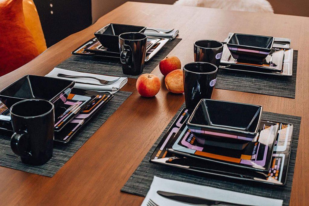 Star Trek: The Next Generation LCARS interface 16-piece ceramic dinnerware set