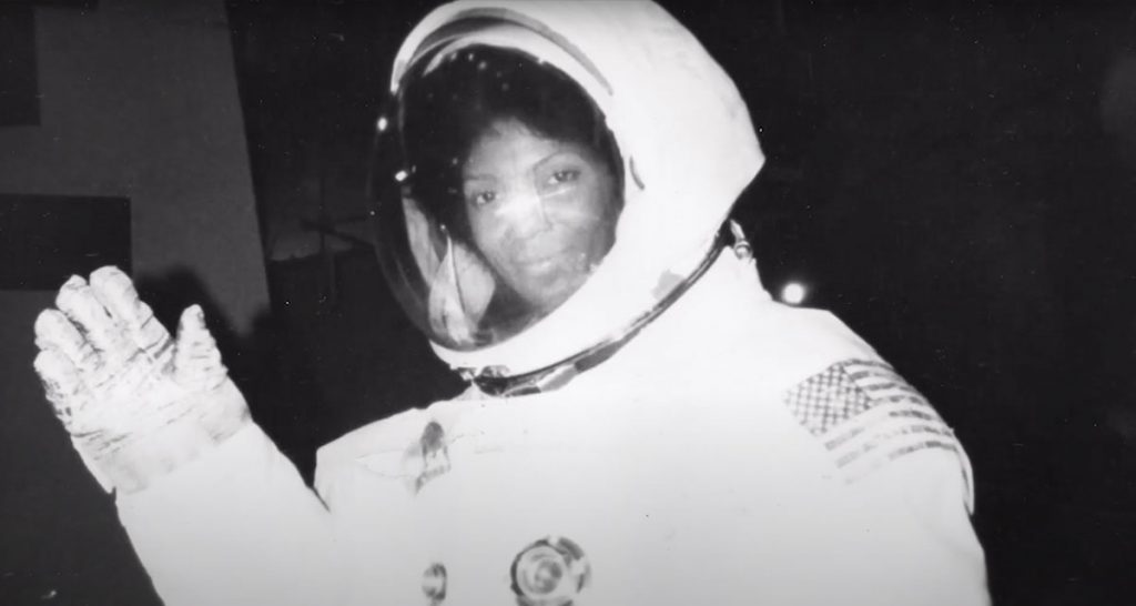 Nichols in a NASA space suit