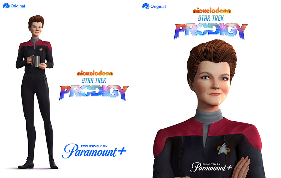 Kate Mulgrew as Captain Janeway in animated form.
