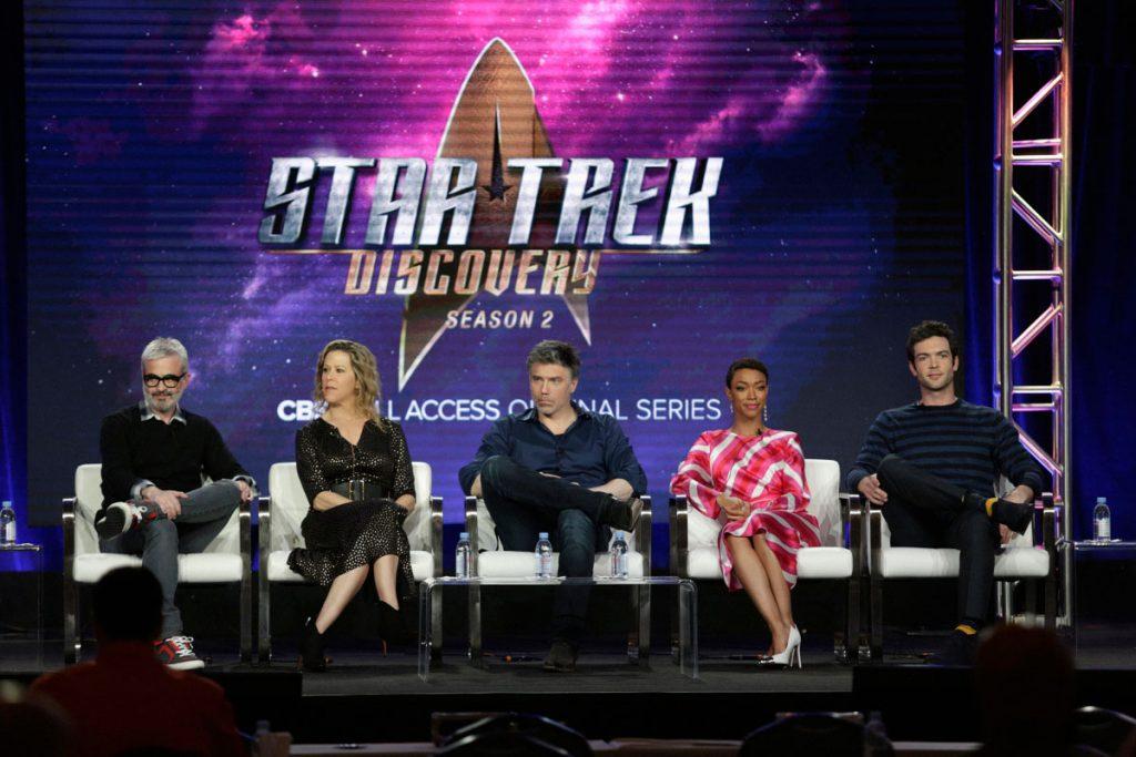 Alex Kurtzman, Heather Kadin, Anson Mount, Sonequa Martin-Green and Ethan Peck during the Star Trek: Discovery Winter TCA Panel in 2019