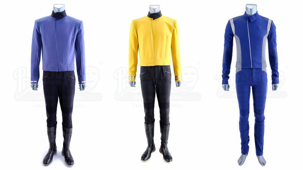 Spock's (Ethan Peck) Science Uniform, Christopher Pike's (Anson Mount) Captain Uniform, and Saru's (Doug Jones) Science Uniform