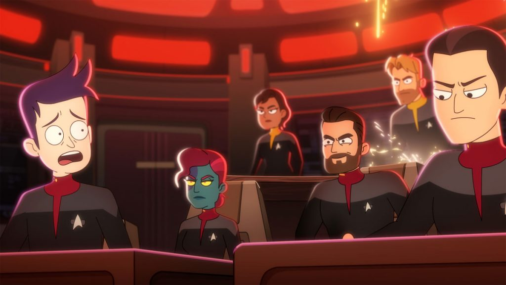 "Jack Quaid as Ensign Brad Boimler, Vanessa Marshall as First Officer, Jonathan Scott Frakes as Capt. William T. Riker, Ryan Stanger as ""Tactical Officer"" and Nolan North as Titan Conn Officer"