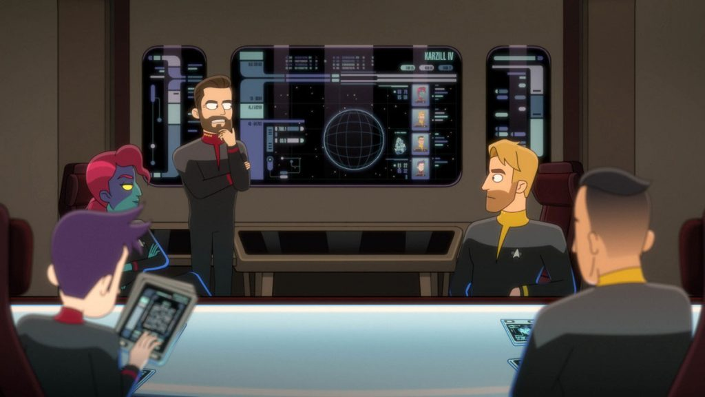 "Jack Quaid as Ensign Brad Boimler, Vanessa Marshall as First Officer, Jonathan Scott Frakes as Capt. William T. Riker and Ryan Stanger as ""Tactical Officer"""