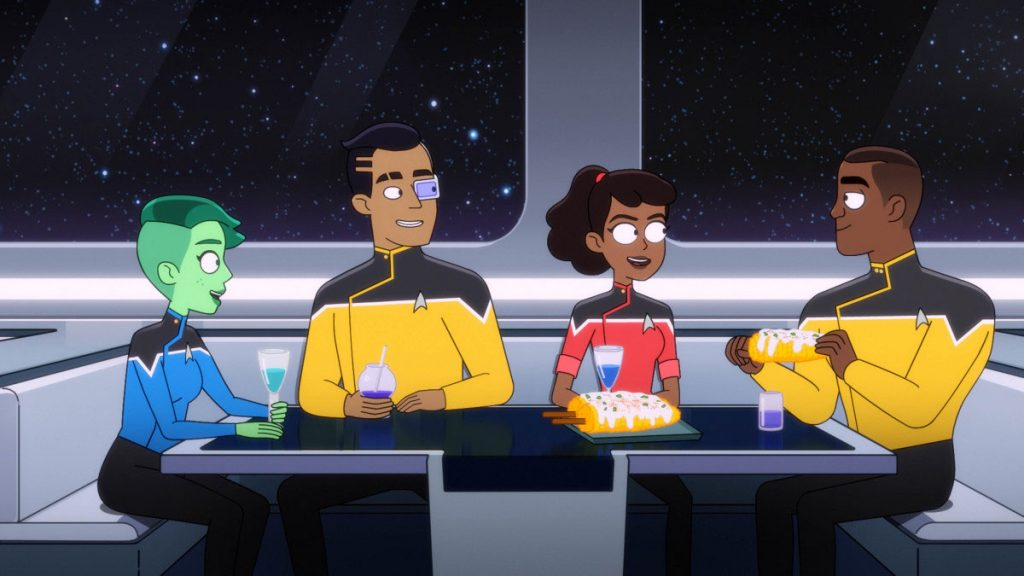 Noel Wells as Ensign Tendi, Eugene Cordero as Ensign Rutherford, Tawny Newsome as Ensign Beckett Mariner and Marcus Henderson as Lieutenant Jet