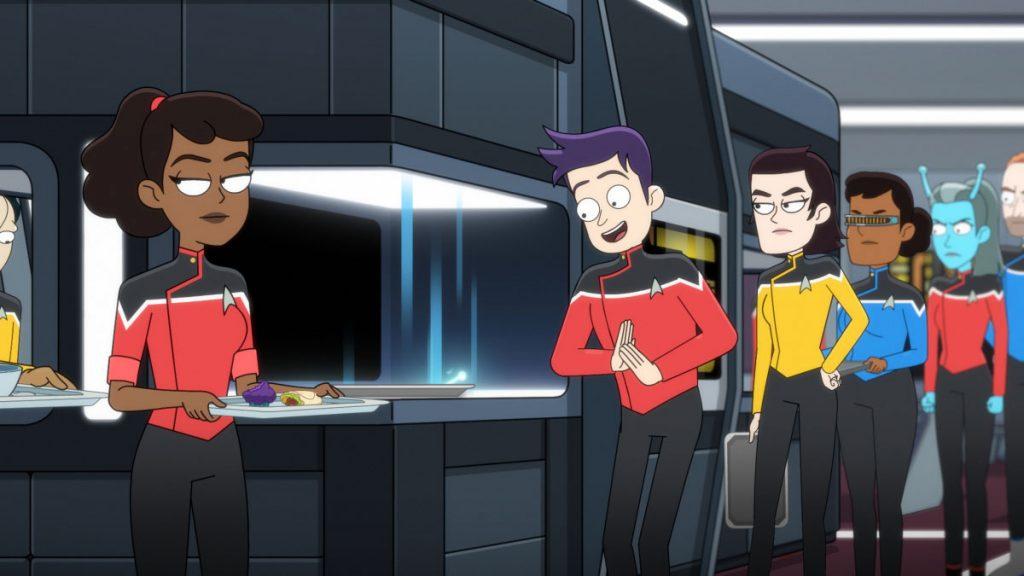 Tawny Newsome as Ensign Beckett Mariner and Jack Quaid as Ensign Brad Boimler