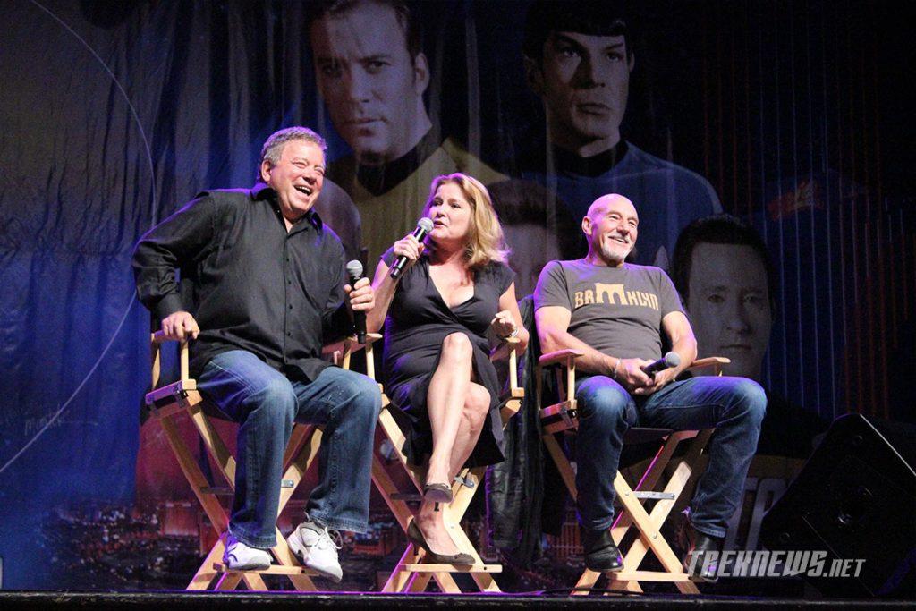 Three captains: William Shatner, Kate Mulgrew and Patrick Stewart