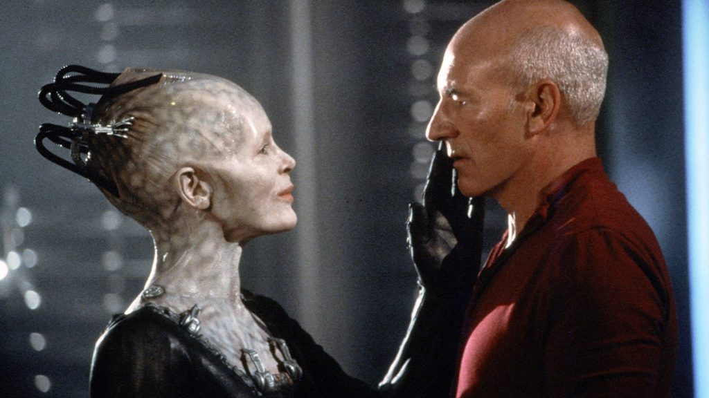 Alice Krige as the Borg Queen with Patrick Stewart as Jean-Luc Picard in Star Trek: First Contact