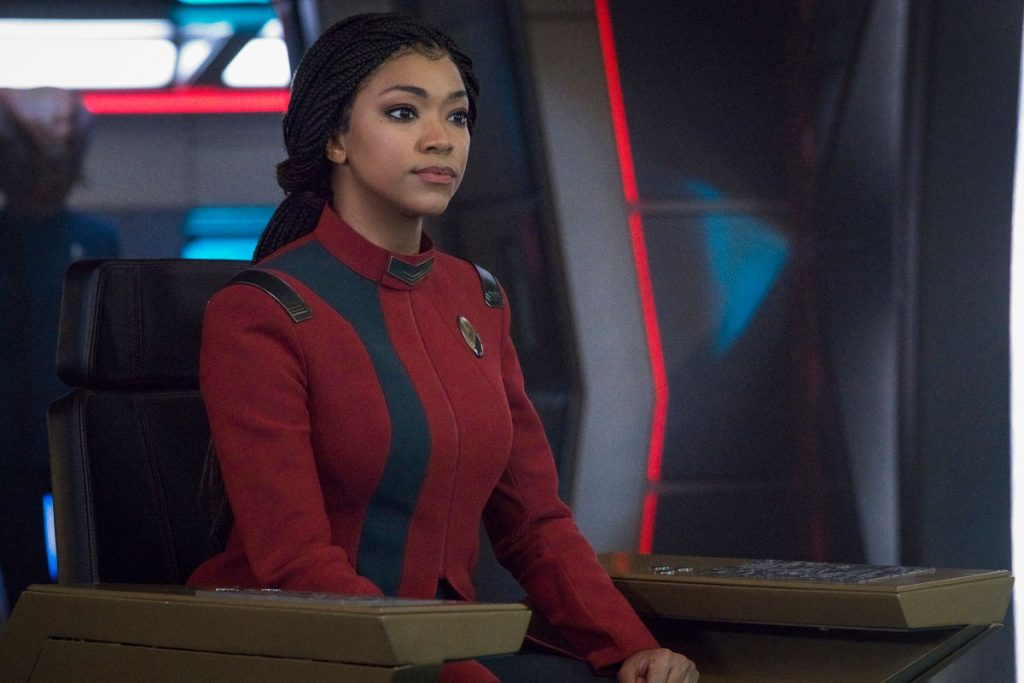 Sonequa Martin-Green as Captain Burnham in Star Trek: Discovery season 4