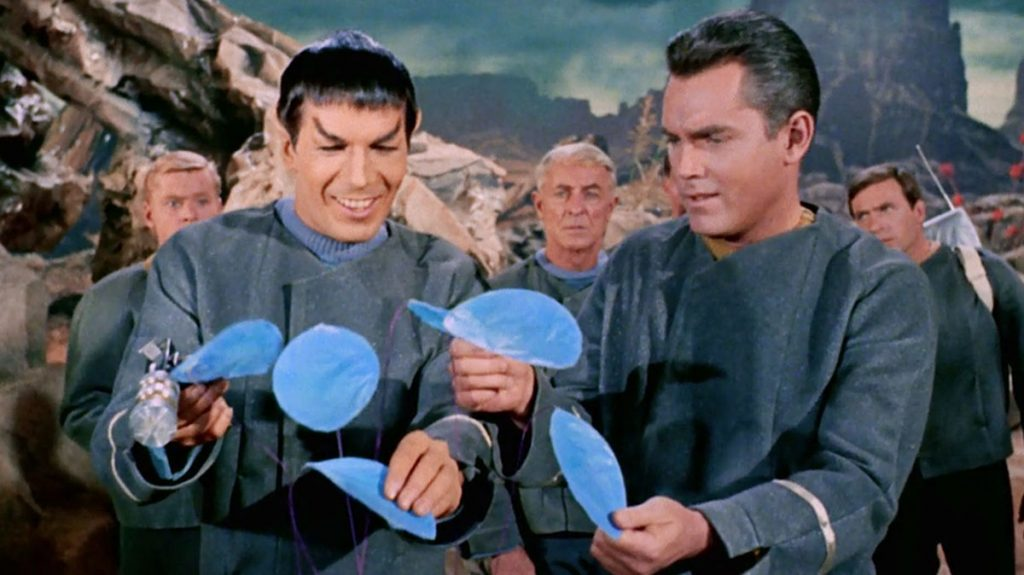 """Leonard Nimoy as Spock along with Jeffrey Hunter as Captain Pike in the Star Trek pilot """"The Cage"""""""