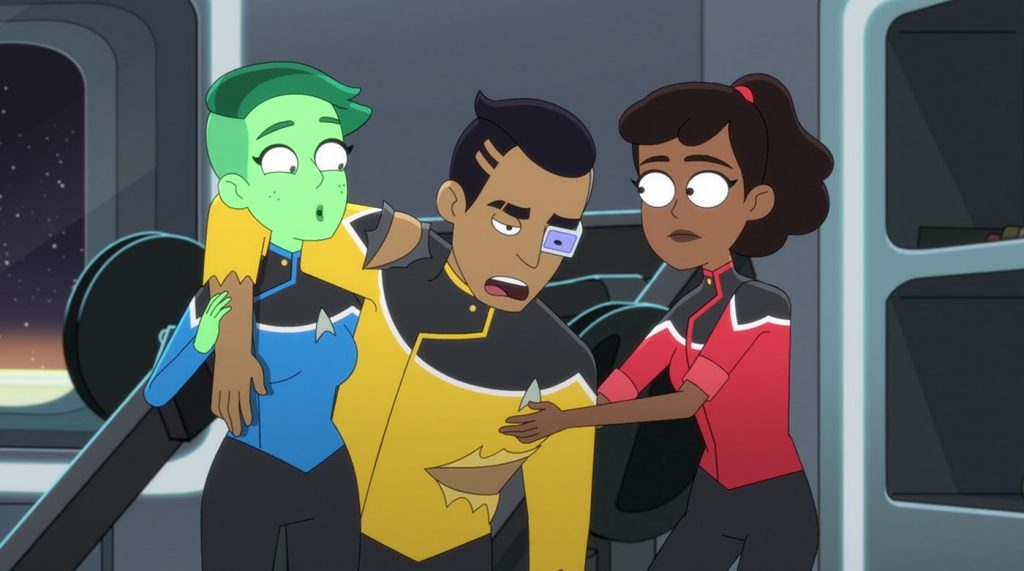 Noel Wells as Ensign Tendi, Eugene Cordero as Ensign Rutherford and Tawny Newsome as Ensign Beckett Mariner