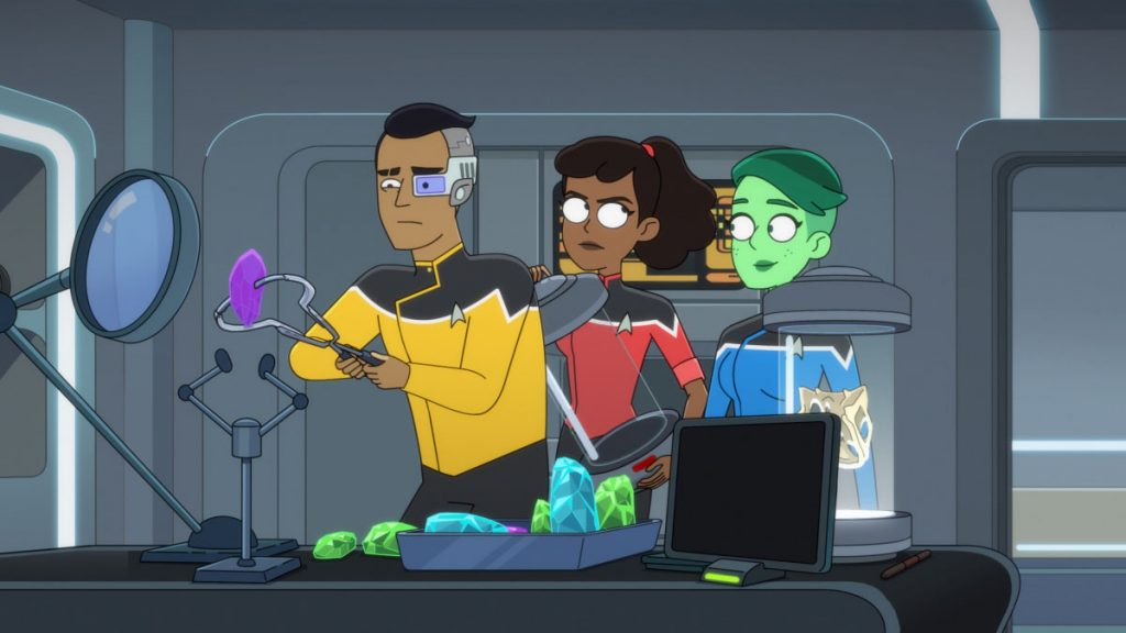 Eugene Cordero as Ensign Rutherford, Tawny Newsome as Ensign Beckett Mariner and Noel Wells as Ensign Tendi