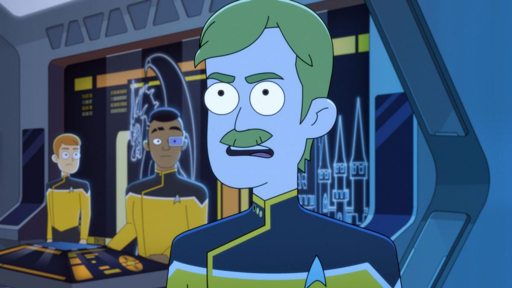 Paul Scheer as Lt. Commander Andy Billups and Eugene Cordero as Ensign Rutherford