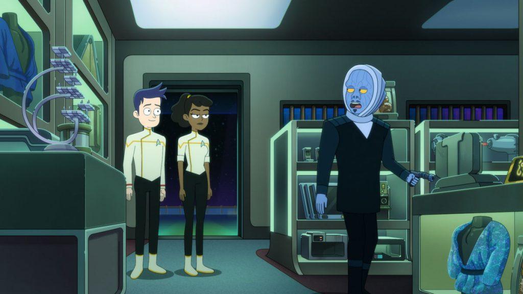 Jack Quaid as Ensign Brad Boimler and Tawny Newsome as Ensign Beckett Mariner and Tom Kenny as Melvis
