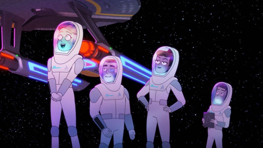 Noel Wells as Ensign Tendi, Eugene Cordero as Ensign Rutherford , Tawny Newsome as Ensign Beckett Mariner, and Jack Quaid as Ensign Brad Boimler