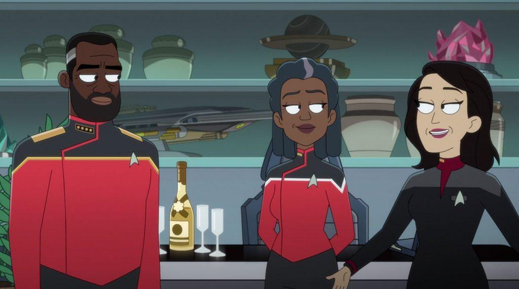 Phil Lamarr as Admiral Freeman, Dawnn Lewis as Captain Carol Freeman and Lycia Naff as Captain Gomez