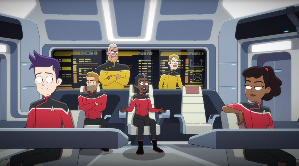 Jack Quaid as Ensign Brad Boimler, Jerry O'Connell as Commander, and Fred Tatasciore as Lieutenant Shaxs, Dawnn Lewis as Captain Carol Freeman, Paul Scheer as Lt. Commander Andy Billups, and Tawny Newsome as Ensign Beckett Mariner