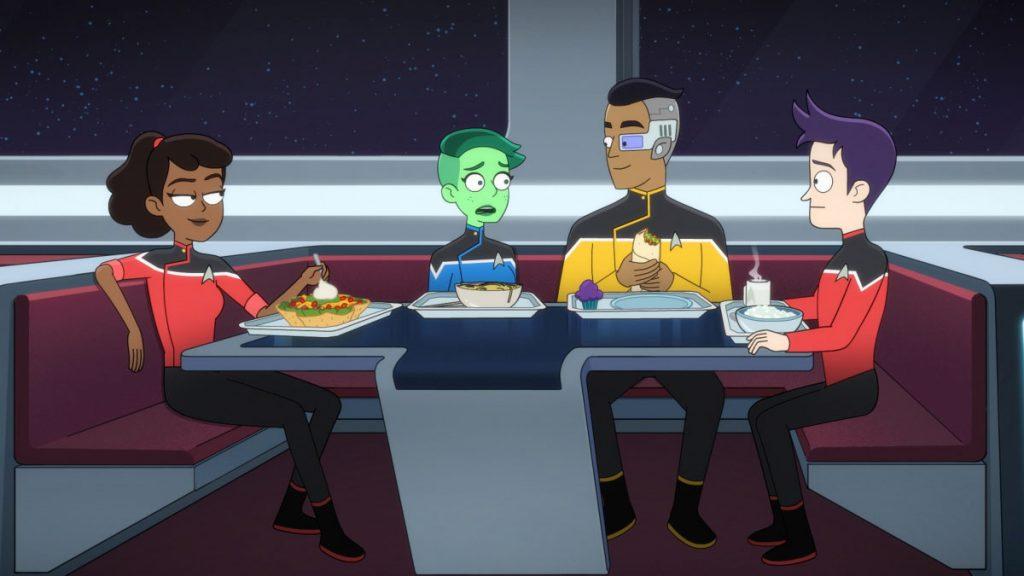 Tawny Newsome as Ensign Beckett Mariner, Noel Wells as Ensign Tendi, Eugene Cordero as Ensign Rutherford, and Jack Quaid as Ensign Brad Boimler