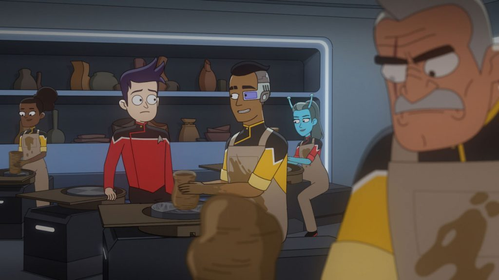 Jack Quaid as Ensign Brad Boimler, Eugene Cordero as Ensign Rutherford and Fred Tatasciore as Lieutenant Shax