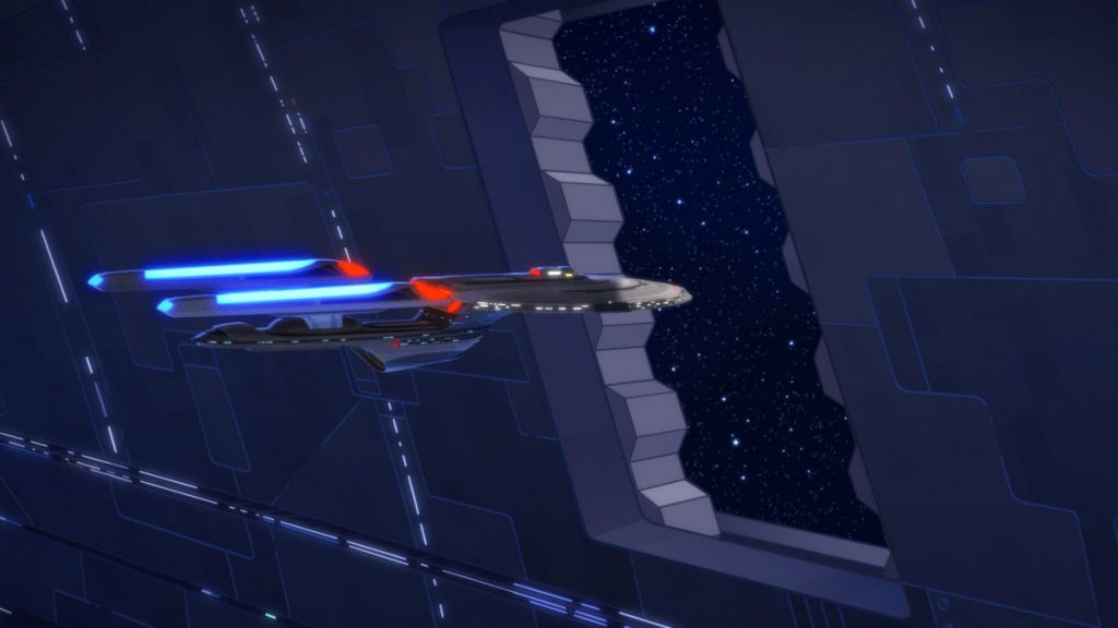 In the season two finale, the U.S.S. Cerritos is tasked to aid an Excelsior-class starship on a first contact mission.
