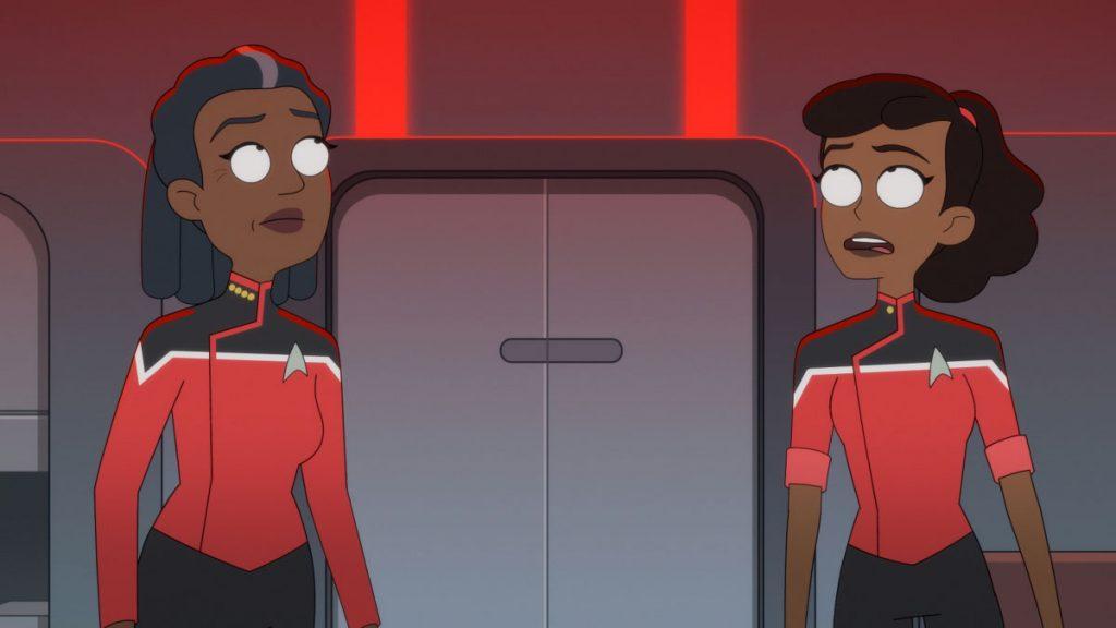 Dawnn Lewis as Captain Carol Freeman and Tawny Newsome as Ensign Beckett Mariner