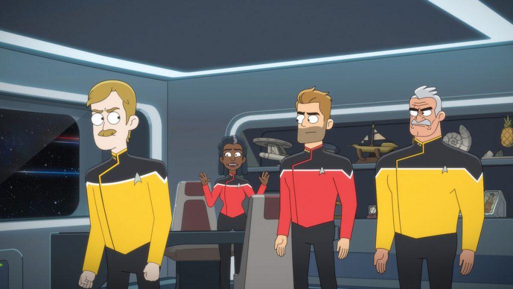 Paul Scheer as Lt. Commander Andy Billups, Dawnn Lewis as Captain Carol Freeman, Jerry O'Connell as Commander, and Fred Tatasciore as Lieutenant Shaxs